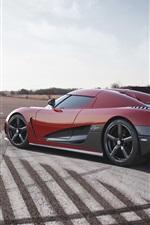 Koenigsegg red supercar, road, sky