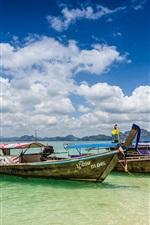 Preview iPhone wallpaper Krabi, Thailand, ocean, coast, boats, summer, clouds
