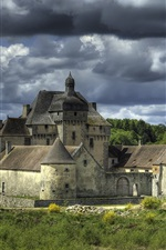 La Sauniere, France, castle, clouds, river, trees