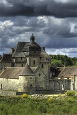 Preview iPhone wallpaper La Sauniere, France, castle, clouds, river, trees