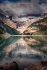 Preview iPhone wallpaper Lake Louise, Alberta, Canada, rodent, mountains, trees, clouds, dusk