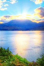 Lake, mountains, trees, sky, clouds, sunrise, dawn