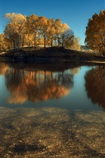 Lake, trees, autumn, water reflection