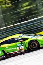 Preview iPhone wallpaper Lamborghini Huracan green supercar in speed