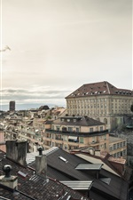 Preview iPhone wallpaper Lausanne, Switzerland, city, houses, train, dusk