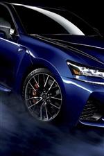 iPhone fondos de pantalla Lexus GS F coche azul, fondo negro