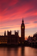 Preview iPhone wallpaper London, England, Thames river, bridge, houses, lights, sunset