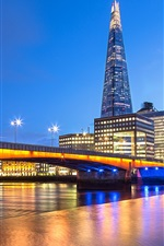 Preview iPhone wallpaper London, England, bridge, river Thames, evening, lights, buildings