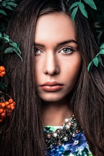Preview iPhone wallpaper Lovely girl, portrait, berries