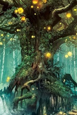Preview iPhone wallpaper Magic forest, tree, lights, creative design