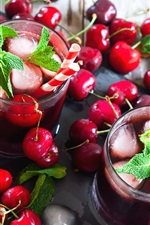 Preview iPhone wallpaper Many red cherries, mint, ice, drink