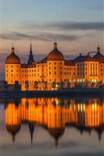 Preview iPhone wallpaper Moritzburg Castle, Saxony, Germany, water reflection, night, lights