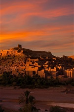 Preview iPhone wallpaper Morocco, Africa, city, house, river, dusk, desert