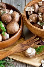 Preview iPhone wallpaper Mushrooms, bowls, knife, food