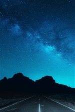 Preview iPhone wallpaper NIght, sky, stars, road, silhouette