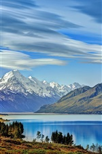 Preview iPhone wallpaper New Zealand, Lake Pukaki, mountains, trees, clouds
