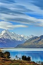 New Zealand, Lake Pukaki, mountains, trees, clouds