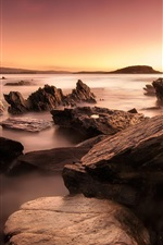 Preview iPhone wallpaper Ocean, sea, rocks, sunrise, dawn