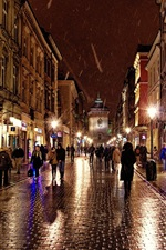 Preview iPhone wallpaper Poland, Krakow, city street, people, shops, lights, night