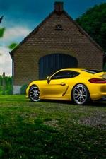 iPhone fondos de pantalla Porsche Cayman GT4 amarilla superdeportivo, casa, árbol, hierba