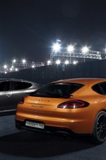 Preview iPhone wallpaper Porsche Panamera GTS orange and gray supercars