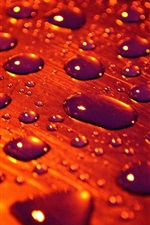 Preview iPhone wallpaper Red style, surface, water drops, rain, macro photography