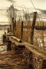 Preview iPhone wallpaper River, wood bridge, reed, dusk