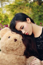 Preview iPhone wallpaper Sadness Asian girl and teddy bear