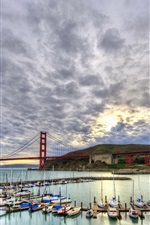 Preview iPhone wallpaper Sailboats, yachts, bay, clouds, San Francisco, USA