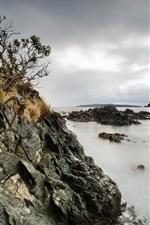 Sea, rocks, clouds, dusk