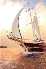 Preview iPhone wallpaper Sea, ship, sailboat, water, sunset, clouds