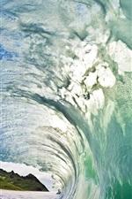 Preview iPhone wallpaper Sea, waves, foam, hills, splash, water channel