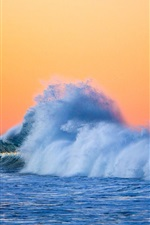 Preview iPhone wallpaper Sea, waves, splashes, dusk