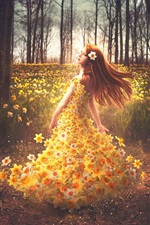 Preview iPhone wallpaper Shelby Robinson, flowers dress girl, daffodils, creative design