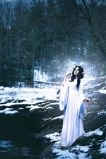 Preview iPhone wallpaper Shelby Robinson, white dress girl, deer, stream, winter, creative