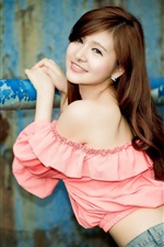 Preview iPhone wallpaper Smile asian girl, pink dress