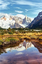Preview iPhone wallpaper South America, Argentina, mountains, lake, water reflection
