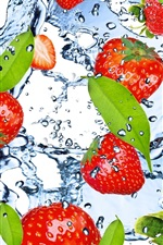 Preview iPhone wallpaper Strawberry, fruit, water, splash