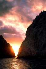 Preview iPhone wallpaper Sunset, sea, coast, island, sky, clouds, cliff, birds