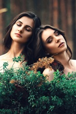 Preview iPhone wallpaper Two girls, twigs, girlfriend