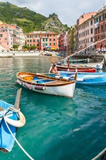 Vernazza, Italy, Cinque Terre, Ligurian coast, dock, boats, house