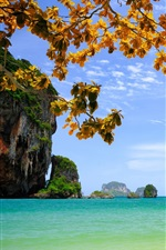 Preview iPhone wallpaper Vietnam, beautiful scenery, sea, rocks, islands, trees, leaves, boats