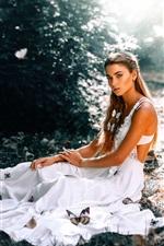 White dress charm girl, butterfly, glare