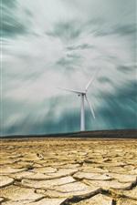Preview iPhone wallpaper Windmills, desert, clouds, dusk