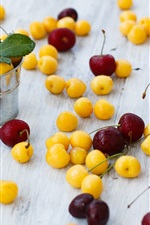Preview iPhone wallpaper Yellow and red cherries, small buckets