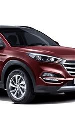 Preview iPhone wallpaper 2015 Hyundai Tucson KR-spec red SUV car