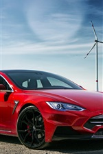 Preview iPhone wallpaper 2015 Larte Design Tesla red electric car