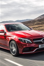 Preview iPhone wallpaper 2015 Mercedes-Benz AMG C63 UK-spec red car speed