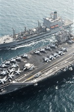 Preview iPhone wallpaper Aircraft carrier, USS Harry S. Truman CVN 75, sea, aircraft