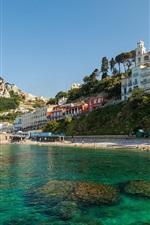 Anacapri, Capri, Italy, city, island, coast, sea, rocks, houses